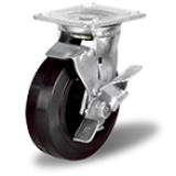 Большегрузное колесо обрезиненное марки C-4102-DYS/ DUS поворотное, с тормозом, г/п 100-1100кг